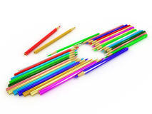 Pencils laid out in the shape of a heart Royalty Free Stock Images