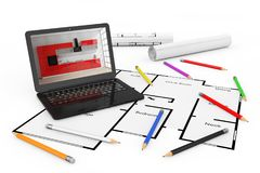 Pencils, Laptop and Blueprints of Housing Project Plan. 3d Rende. Pencils, Laptop and Blueprints of Housing Project Plan on a white background. 3d Rendering Royalty Free Stock Photo