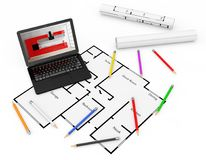 Pencils, Laptop and Blueprints of Housing Project Plan. 3d Rende. Pencils, Laptop and Blueprints of Housing Project Plan on a white background. 3d Rendering Royalty Free Stock Photography