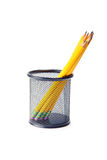 Pencils. Lead pencils in metal pot on a white background Stock Image