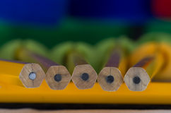 Pencils 10. Lead pencil/s arranged in close up view showing pleasing angles and blurs Royalty Free Stock Photos