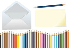 Pencils, letter and envelope Stock Photography
