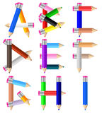 Pencils letter A-I Stock Images