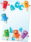 Pencils and letters card. Illustration of a pencils and letters card Stock Images