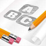 Pencils and letters on paper sheet Stock Photos