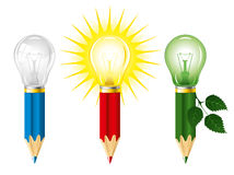 Pencils and light bulbs. Set of pencils and light bulbs, concept of idea Royalty Free Stock Image