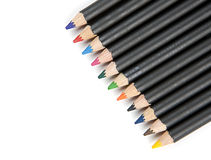 Pencils lined up diagonally. Stock Images