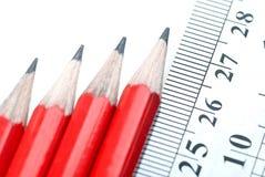 pencils linjalen Arkivfoto