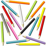 Pencils in many colors Stock Photos
