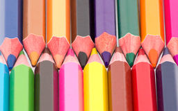 Pencils. Many sharpened pencils and colored up close Stock Photography