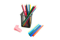 Pencils, markers and erasers Stock Photography