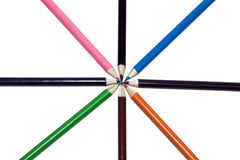 Pencils meeting at a point Stock Photo