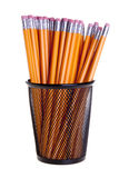 Pencils in Metal Cup Stock Photo