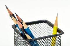 Pencils in metal pot Stock Images