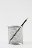 Pencils in metal pot on a white background Stock Photography