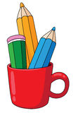 Pencils and mug. Illustration of pencils in a mug Royalty Free Stock Photos
