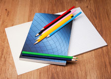Pencils and notebook Royalty Free Stock Photography