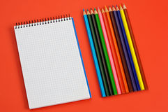 Pencils and notebook Royalty Free Stock Photo