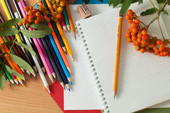 Pencils and notebook Royalty Free Stock Image