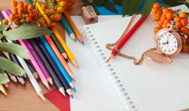 Pencils and notebook Royalty Free Stock Images