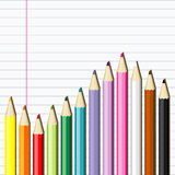 Pencils on the notebook sheet Stock Image