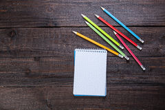 Pencils and notebook Royalty Free Stock Photos