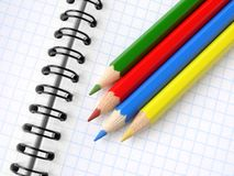 Pencils and notepad Stock Photo