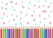 Pencils and numbers Royalty Free Stock Photography