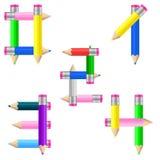 Pencils numrerar 0-4 Arkivfoto