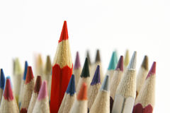 Pencils. One red pencil standing out from others Stock Images