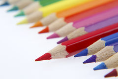 Pencils. One red pencil standing out from others Royalty Free Stock Photography