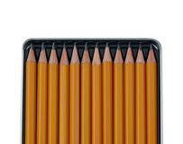 Pencils in open metal box. Royalty Free Stock Images