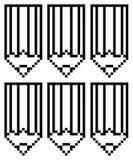 Pencils outline pixel art. Pencils sign Stock Photo