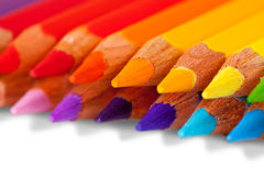 Pencils over whit Stock Images