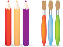 Pencils and paint brush Royalty Free Stock Image
