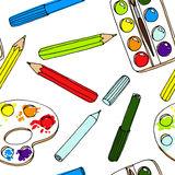 Pencils, paint,  brush and palette palette.  Stock Image