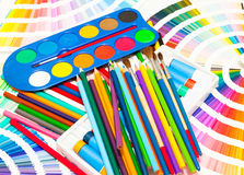 Pencils, paint and color chart of all colors Royalty Free Stock Photo