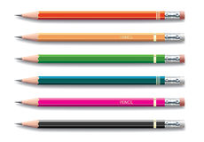 Pencils painted in different colors Royalty Free Stock Photos