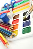 Pencils and paints stock photos