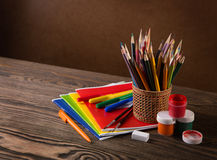 Pencils, paints and brushes. Royalty Free Stock Photography