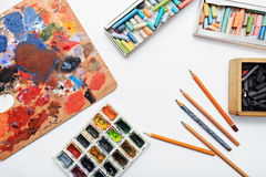 Pencils and paints Royalty Free Stock Images