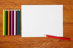 Pencils and paper Stock Image