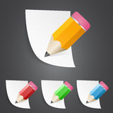 Pencils with paper pages Stock Images