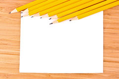 Pencils, paper and ruler Stock Images