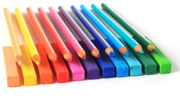 Pencils and pastels. Royalty Free Stock Image