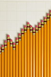 Pencils in a pattern of a graph Royalty Free Stock Photography
