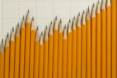 Pencils in a pattern of a graph Stock Photos