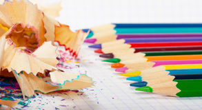 Pencils and peels Royalty Free Stock Image