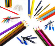 Pencils and pen Stock Image