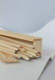 Pencils in a pen case Stock Photo
